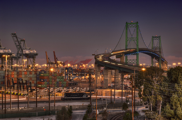 The Vincent Thomas Bridge in San Pedro, California, and the largest shipping port in America - Credit: Flickr user Neil Kremer